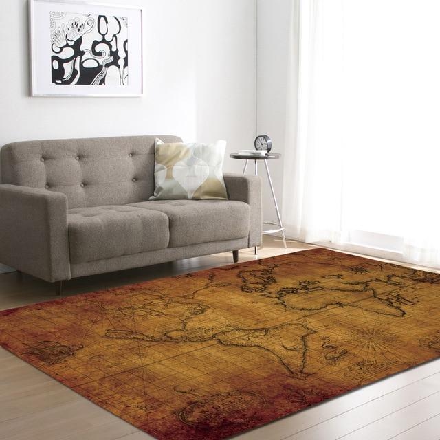 Zeegle World Map Carpets For Living Room Anti Slip Office Chair Floor Mats  Bedroom Carpets