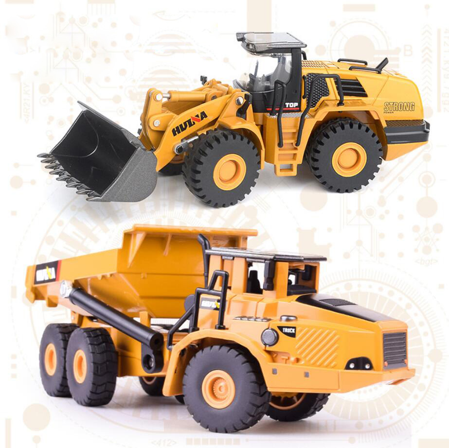 цена на High simulation 1:50 scale city Engineering vehicle set metal model diecast dump truck Loader toys collection for boys gifts