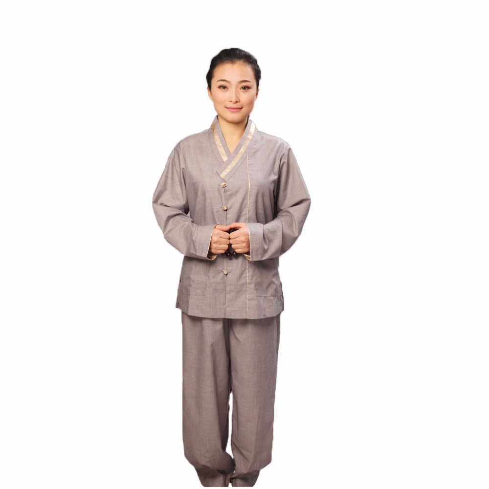 New Autumn Female Nun Buddhist Meditation Set Costume Soft Comfortable Lay Uniforms Women Kung Fu Yoga Sets Martial Art Clothing
