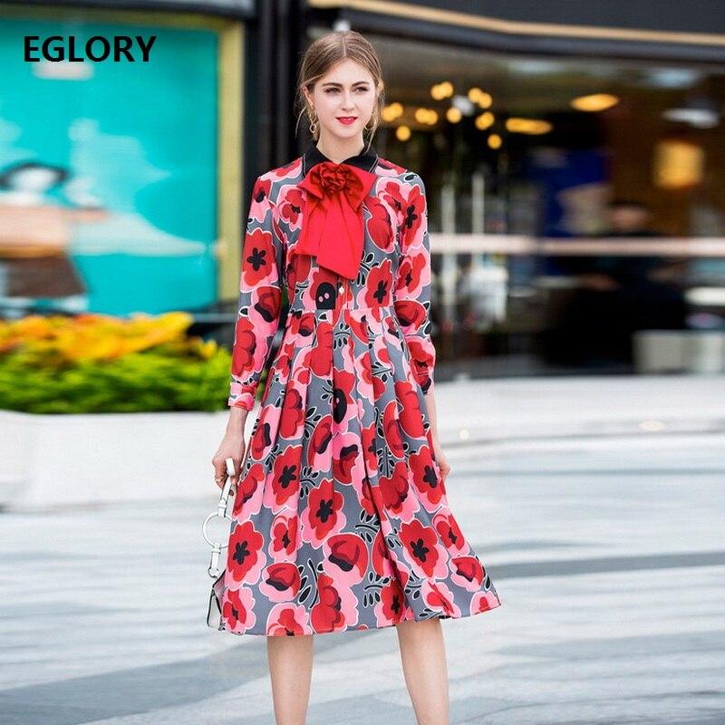 Nouveau Élégant Automne Rouge Robe Style 2018 Nouveauté Fleur Imprimer  Parti Tunique Dame De Arc Femmes Femme Mode Cravate BwrBEqS bb63f57d2a5