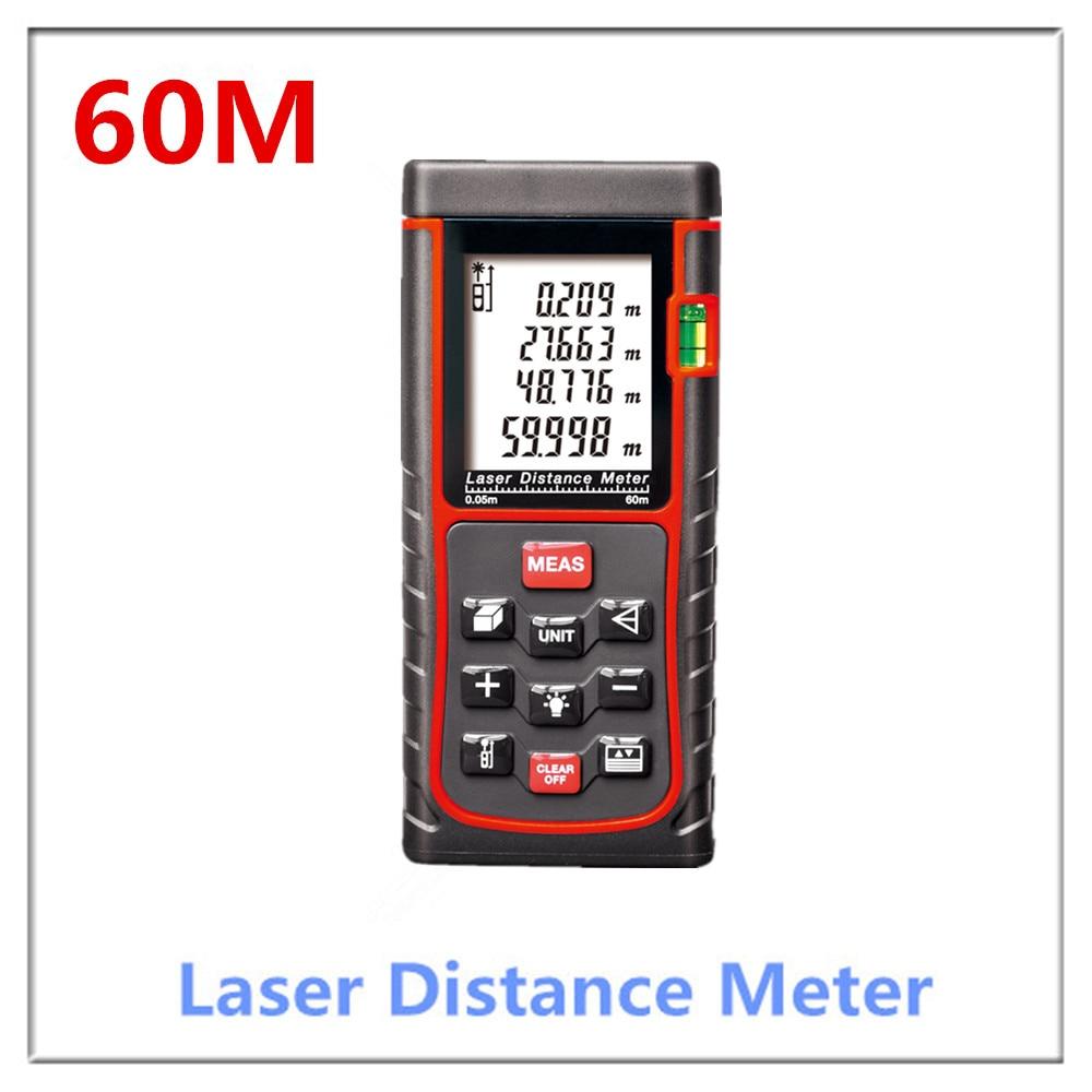 Free Shipping hot se 60m(192ft) Laser distance meter bubble level Rangefinder Range finder Tape measure Area/Volume m/in/ft Tool free shipping wholesales laser 2 line lase level marker mouse se sl2