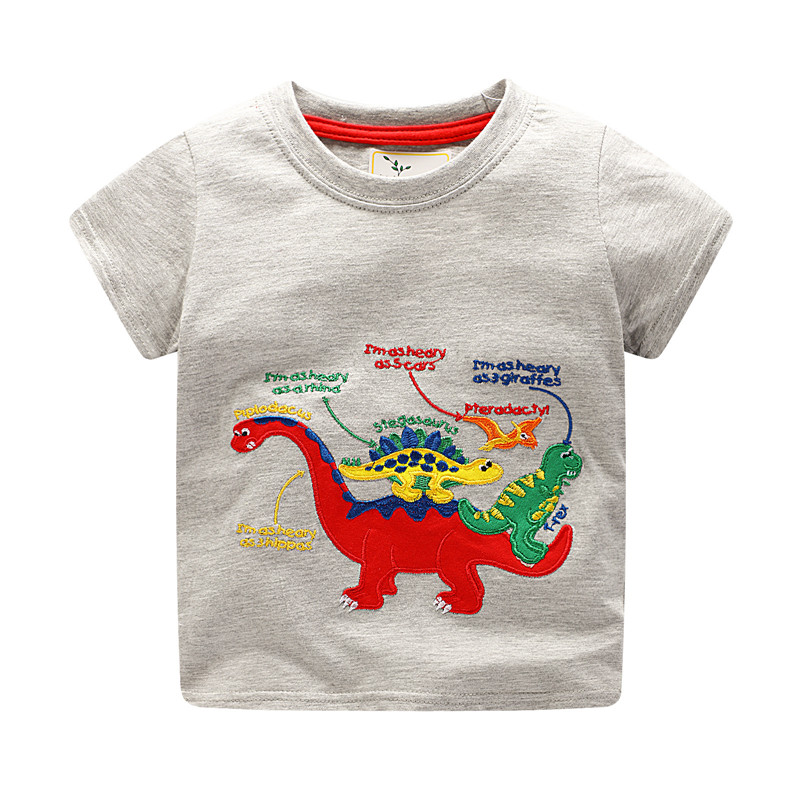 Jumping meters new boys summer t shirts kids short sleeve cartoon baby clothes with applique dinosaurs boys new style t shirt