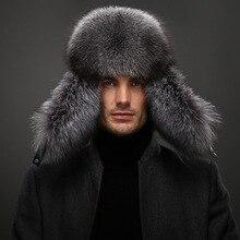 Winter real fox fur hat for men natural raccoon fur hat protect ear warm enough high