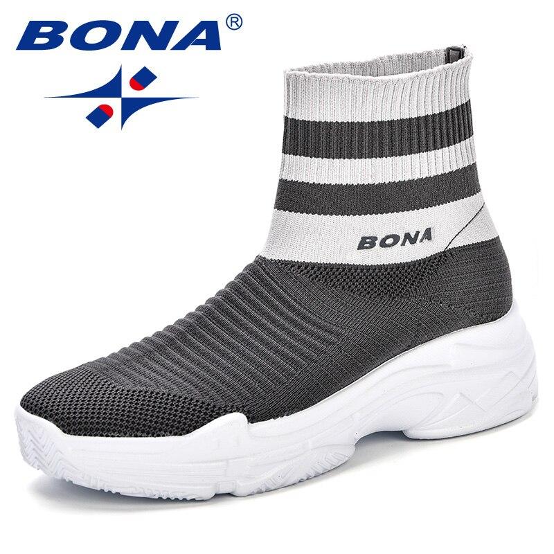 BONA 2018 femmes Fly-tricot chaussette bottes respirant printemps et automne plate-forme chaussures de marche confortable à la mode dames baskets chaussures