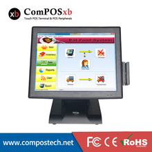 Factory direct sale 15 inch pos touch screen system all in one pc stand touch machine with MSR and VFD