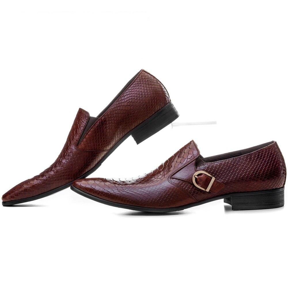 Tan Black Zapatos Negocio Correa Cuero Genuino negro Bronceado Mocasines Marrón brown Serpentina Monje De Hombre Gran Tamaño Vestir Eur45 Boda 8qf7HT