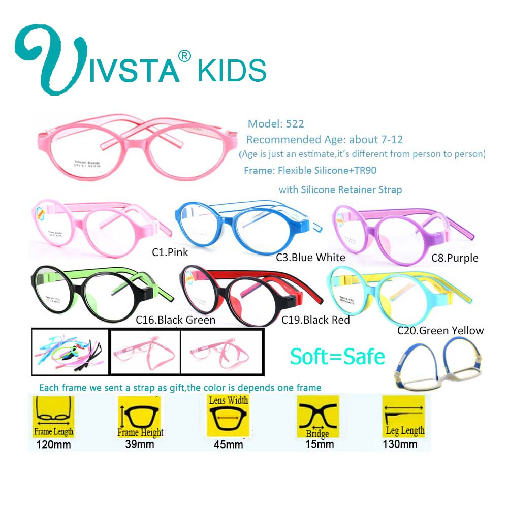 Image 3 - IVSTA 44 15 125 522 TR90 Kids Optical Frame Silicone Children Glasses with Strap retainer holder boys girls prescription-in Women's Eyewear Frames from Apparel Accessories on AliExpress