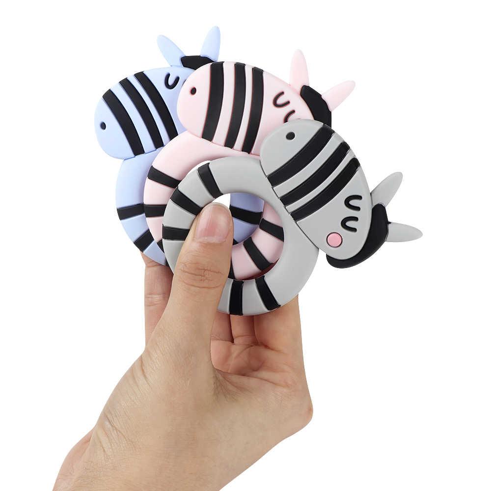 TYRY. HU 1pc Dinosauro Del Cartone Animato Zebra Coccodrillo Animale Del Silicone Branelli Allentati di Grado Alimentare Del Bambino FAI DA TE Dentizione Collana Monili Che Fanno