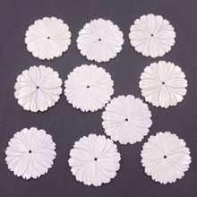 Lots 10 PCS 28mm Round White Shell Flower Mother of Pearl Loose Beads lots 10 pcs 18mm white shell six petal flower mother of pearl loose beads