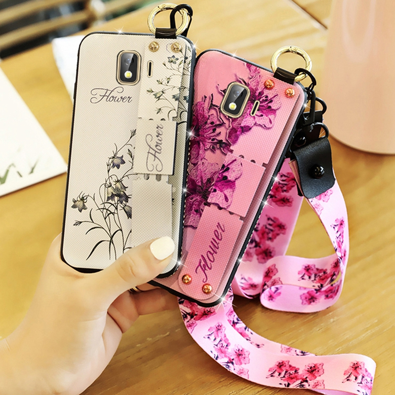 Wrist Strap Case For Samsung Galaxy A50 A10 A30 A20 A70 M10 20 30 A6 A8 Plus A7 2018 J6 J4 J8 J2 Core Note9 S10lite Flower Cover
