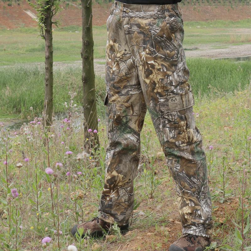Tamanho grande sem fazer barulho de pano de algodão respirável calças ao ar livre dos homens caminhadas pesca selva camuflagem biônico caça calças compridas