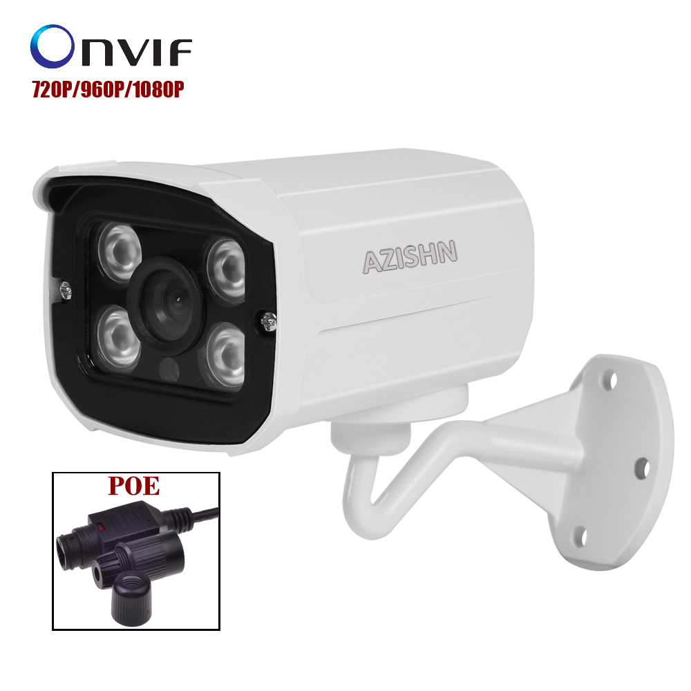 48V PoE IP Camera 720P 960P 1080P Waterproof Outdoor 4pcs LEDS Bullet IP Camera ONVIF Metal Case IP66  PoE cable cctv camera outdoor waterproof white metal case 1080p bullet poe ip camera with ir led for day