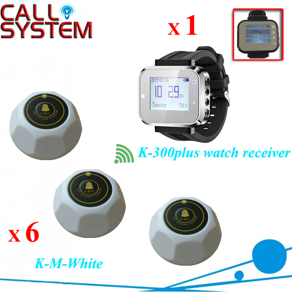 Hospital nurse call bell system 1 watch pager receiver 6 room bells wireless equipment service call bell pager system 4pcs of wrist watch receiver and 20pcs table buzzer button with single key
