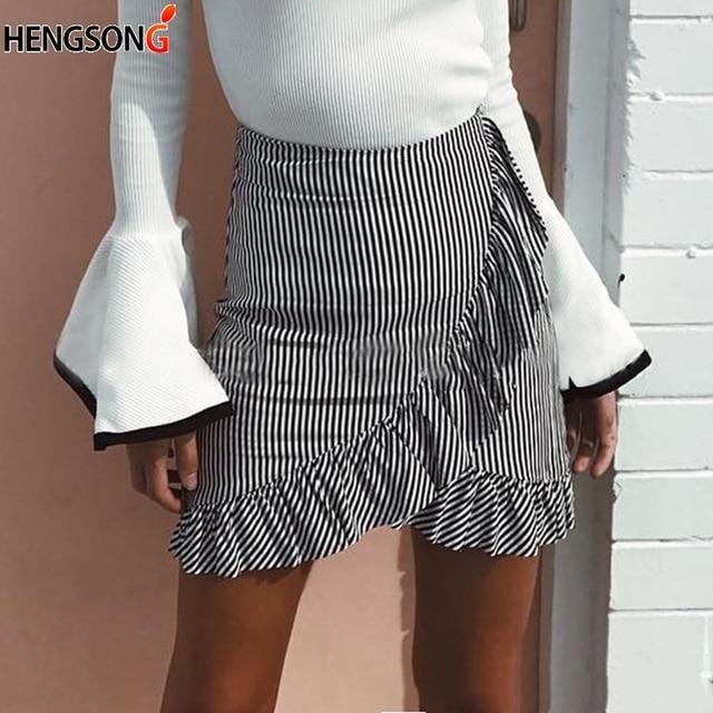 49ca333a6 Sweat Women Skirt Stretch High Waist Skater Skirt Flared Ruffle Pleated  Skirt Female Ladies Short Mini Beach Striped Skirts