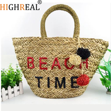 HIGHREAL New High Quality Tassel Rattan Bag Beach Bag Straw Totes Bag Summer Bags with Tassels Women Handbag Braided