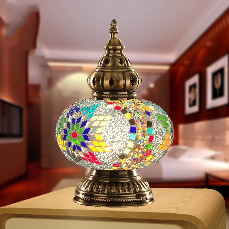 Mediterranean Style Hand studded Glass Turkish Table Lamp Mosaic Color Glass Lampshade Retro Decoration Fashion LED Night Light