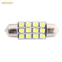 BEEFORO 36mm 1.5W 150LM 6000K 12x3528 SMD White LED for Car Reading/License Plate/Door Lamp (DC12V, 10Pcs)