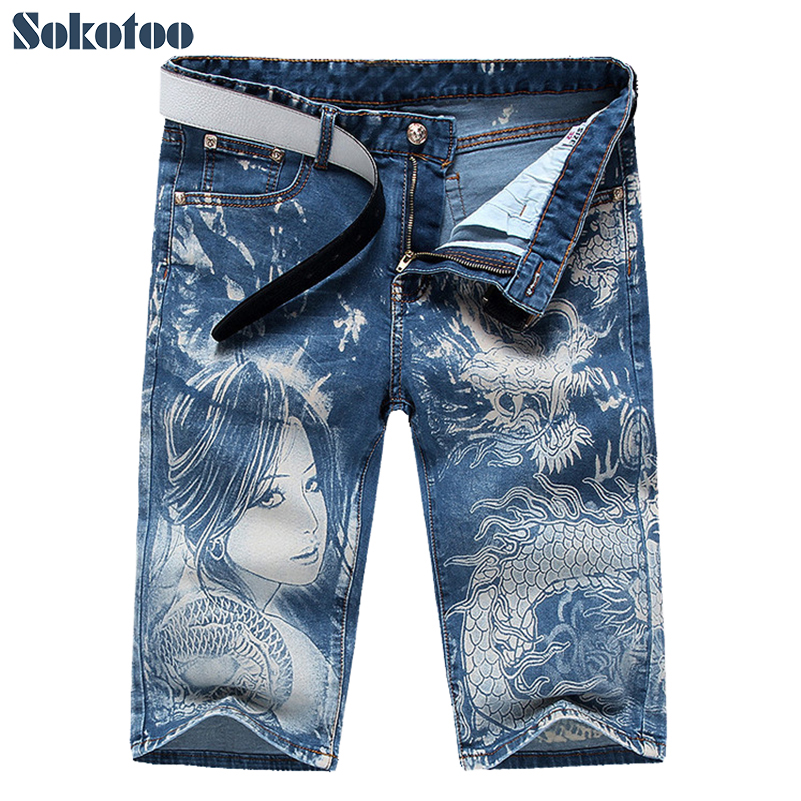 Sokotoo Men's Fashion Blue Girl And Dragon Print Jeans Male Casual Thin Stretch Denim Knee Length Shorts Capri
