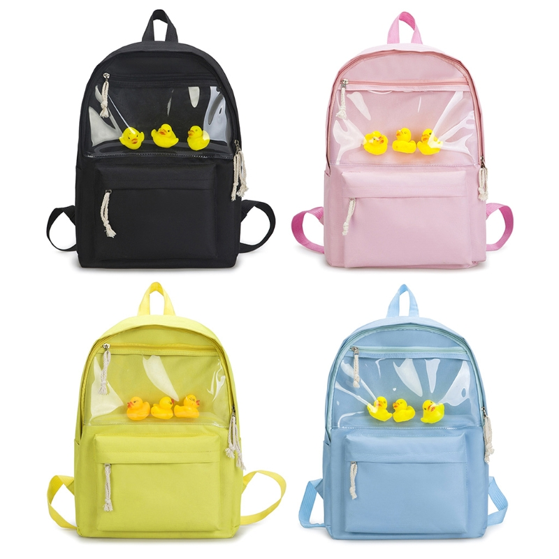 Women Canvas Student Backpack Transparent Girls School Bag Bookbag With Duck Toy