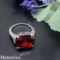HERMOSA JEWELRY jewelry Gorgeous Tự Nhiên hình chữ nhật Red Garnet Trắng Zircon 925 Sterling Silver Đẹp Vòng 7 Diện HF1864