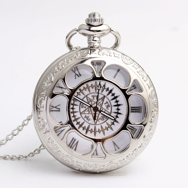 Vintage smooth Hollow Silver Full Metal Alchemist Pocket Watch Necklace Chain Qu