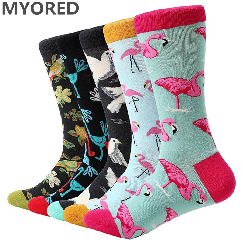 5 pair/lot mens cartoon socks cotton animal bird flower colorful long socks funny sock for men casual dress wedding gift