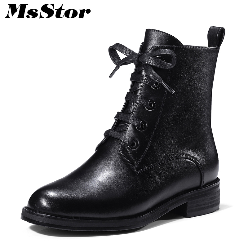MsStor Round Toe Low Heel Women Boots Casual Fashion Concise Ankle Boots Women Shoes Mature Elegant Genuine Leather Boots Women msstor round toe thick bottom women boots casual fashion concise ankle boots women shoes mature elegant platform boots women