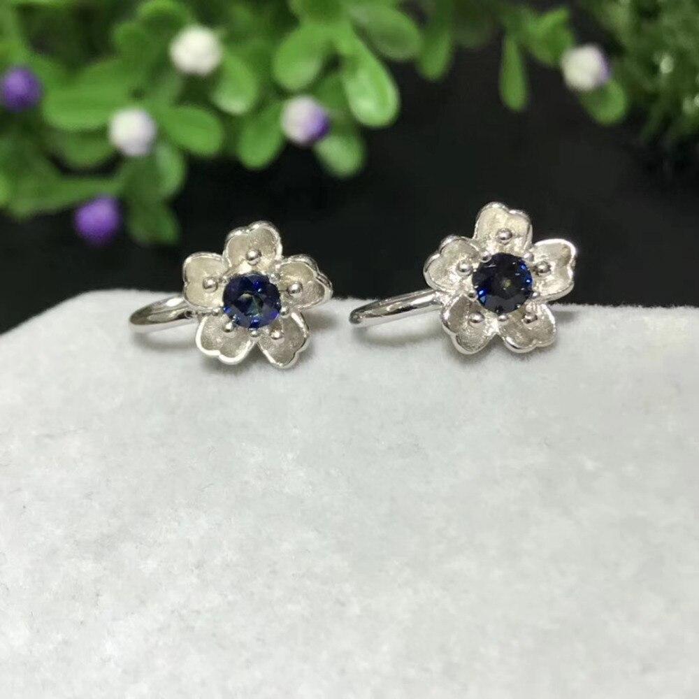 Saphir bleu naturel gemme élégant creux fleur clip boucles d'oreilles 925 argent naturel pierres précieuses boucles d'oreilles femmes fête cadeau bijoux - 2