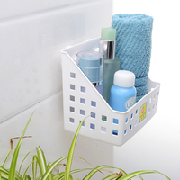 Bathroom wall mounted bathroom free punching kitchen plastic rack wall hanging toilet suction cup storage basket lo824249