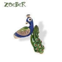 Zoeber модные animao кольцо 3D Эмаль Глазурь Павлин палец кольцо животных палец кольцо для молодой девушки Для женщин Регулируемый кольцо RJ2103