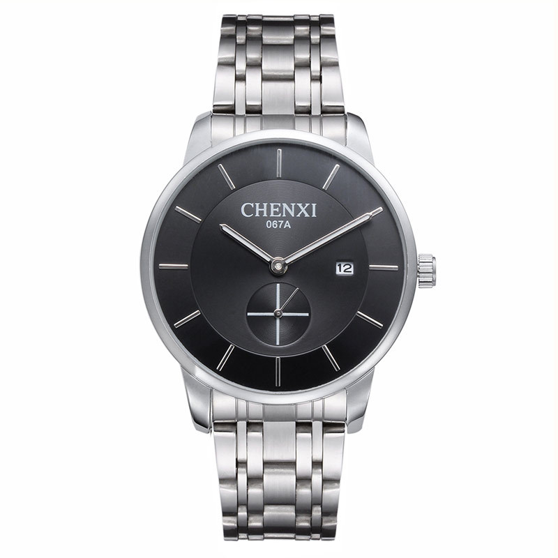 2018 Chenxi Brand Dual Dials Dress Watches Men Women Quartz Silver Plated Steel Wristwatches With Calendar Waterproof Watch 067a