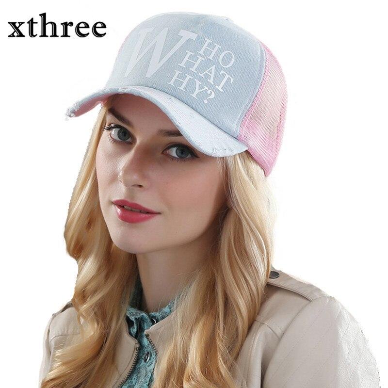 Prix pour Xthree d'été casquettes de baseball féminin femme snapback chapeau denim chapeau de maille casquette os chapeaux pour femmes hommes