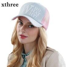 Xthree summer female baseball caps woman snapback hat denim mesh cap casquette bone hats for women men