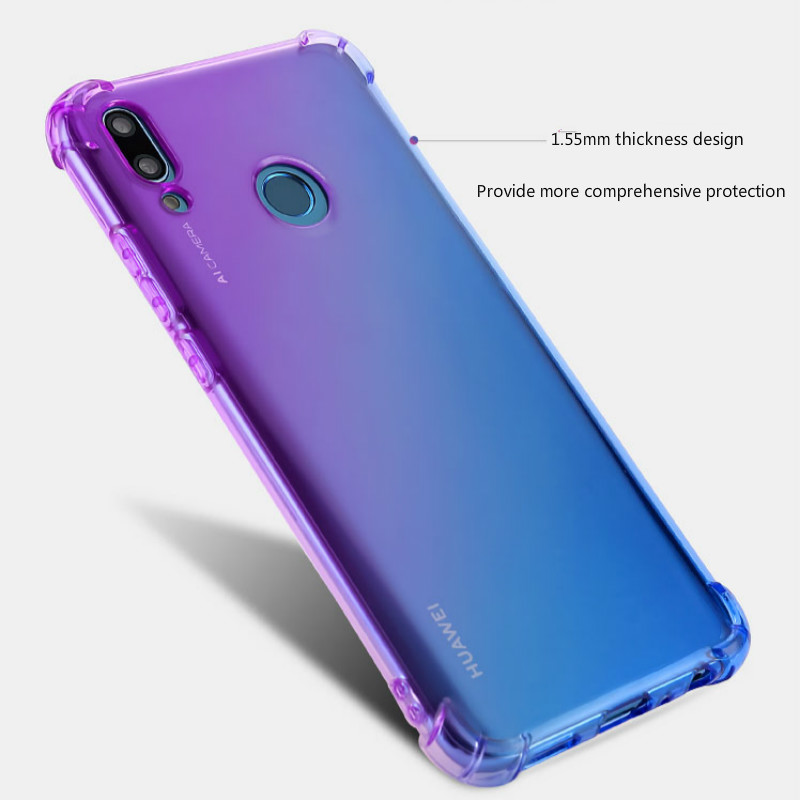 Soft TPU Full Protect Cover for Huawei Y9 Y7 Pro Y5 P Smart Plus 2019 Case Rainbow Gradient Airbag Case for Huawei Y9 2018 Cover in Fitted Cases from Cellphones Telecommunications