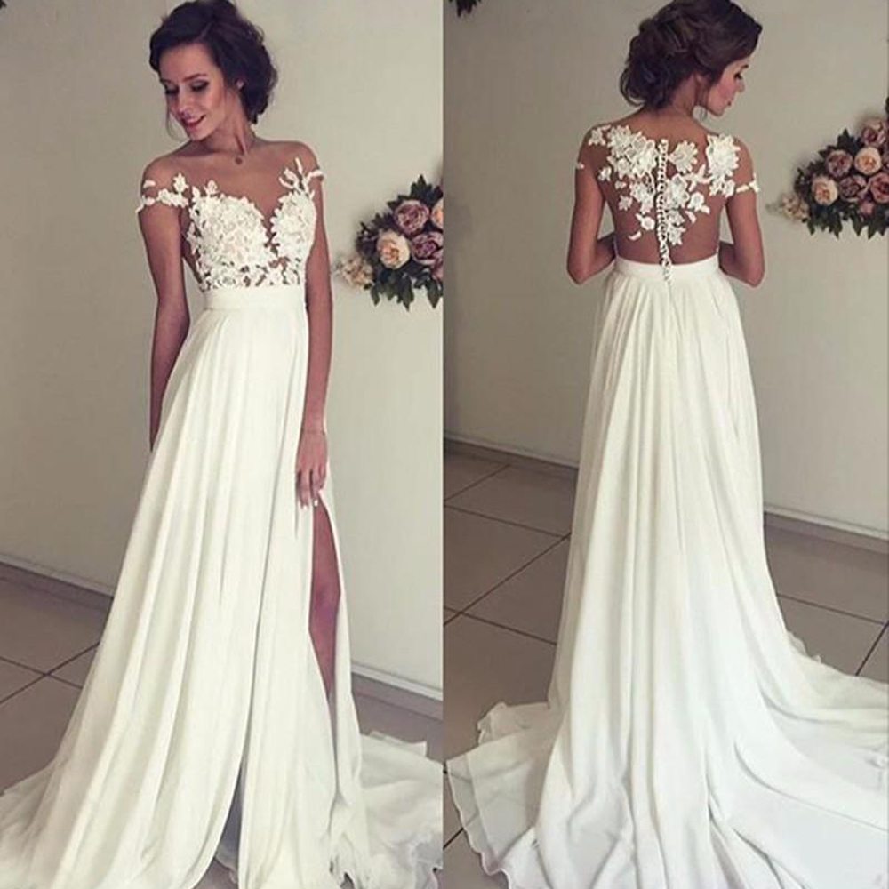 Vintage Chiffon Beach Wedding Dress 2019 Summer White Cap Sleeves V Neck Split Boho Princess Wedding