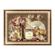 FineTime 5D Diy Diamond Painting Kitchen Flower Embroidery Set Full Mosaic