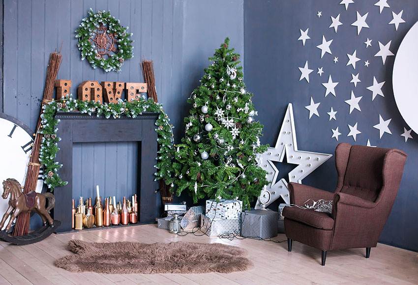 Indoor Fireplace Christmas Tree Photography Background: Vinyl Photography Backdrops Christmas Photo Background