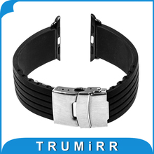 Silicone Rubber Band with Stainless Steel Buckle for 38mm 42mm iWatch Apple Watch Resin Strap Bracelet