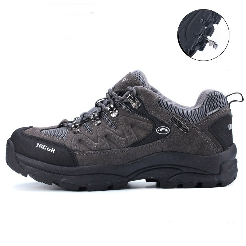 ФОТО Best Selling Mens Large Size Climing Shoes Leather Sport Shoes Trekking Mountain Boots Skid-Resistance Outdoor Shoe Men Trekking