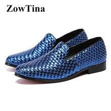 87869d734 Azul Royal Homens Deslizamento Em Flats Formais Vestido de Casamento Sapatos  de Negócios Homem Tecida Projeto Mocassin Homme Mod.