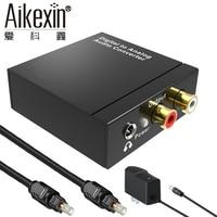 Aikexin DAC Digitale Audio Analoog Converter Optische Coax naar RCA R/L 3.5mm Adapter met AUX 3.5mm Jack out met Toslink kabel