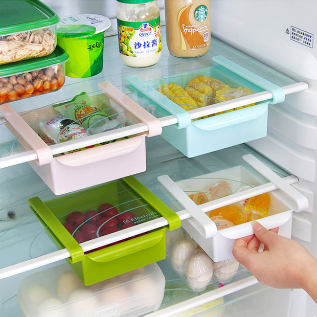 4 Pcs/lot Plastic Kitchen Refrigerator Storage Rack Fridge Freezer Shelf Holder Pull-out Drawer Organiser Space saver