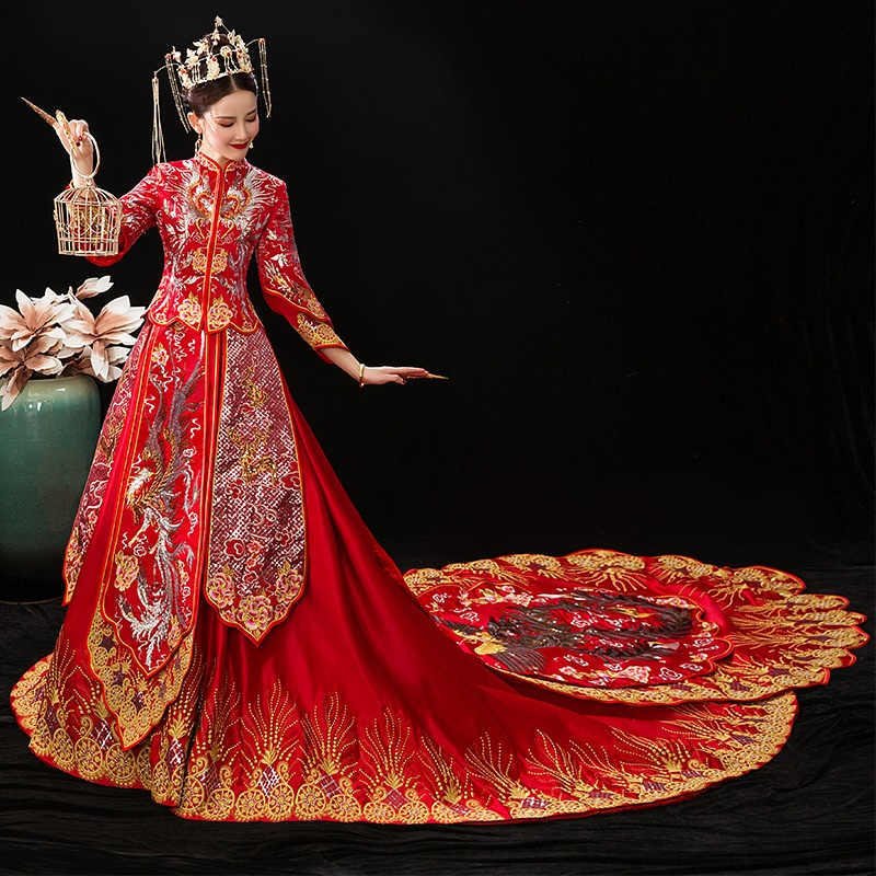 Traditional Chinese Wedding Gown Queen Bridal Wedding Qipao Embroidery  Phoenix Hanfu Long Tail Chinese Wedding Dress TS9