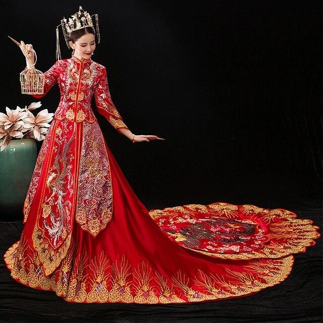 Truyền Thống Trung Quốc Áo Cưới Nữ Hoàng Cưới cô dâu Qipao Thêu Phượng Hoàng Hanfu Đuôi Dài Trung Quốc Áo Cưới TS843