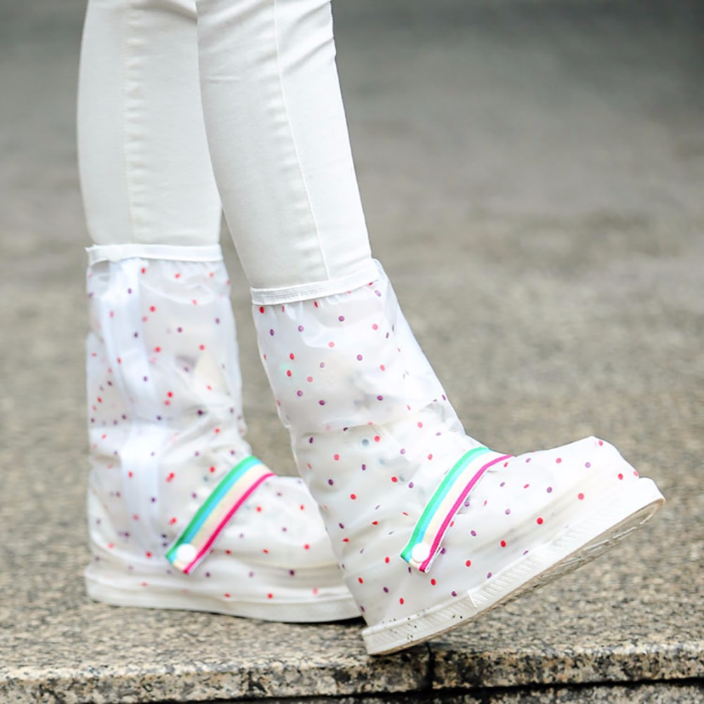 Reusable Polka Dots Waterproof Slip-resistant Thicken Sole Zippered Long Boots Rain Snow ...