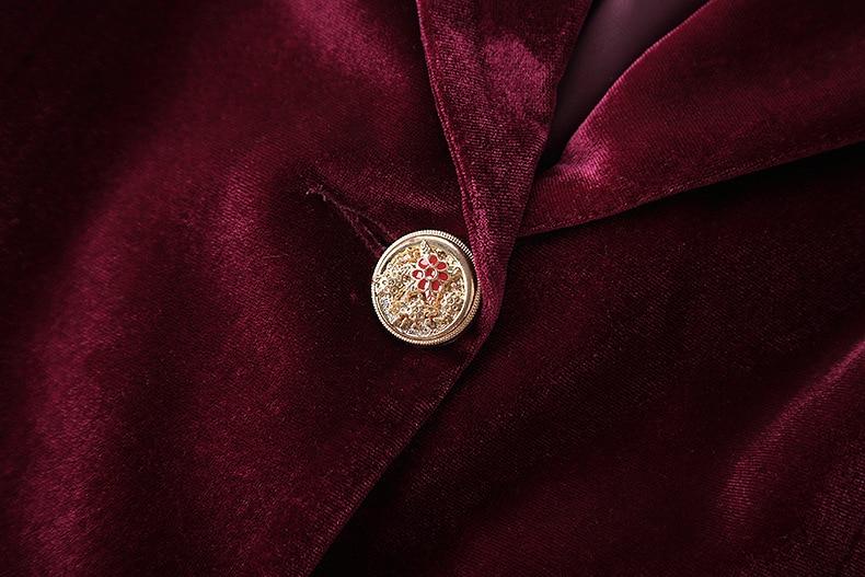 Longues Pour Rouge Costume Pantalon Manches Femmes Ensemble Costumes Velours D'affaires Blazer q7w8tn0x