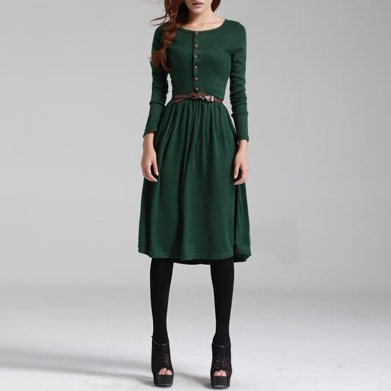 Black/Green Women Long Sleeve Knitted Button Dress 2017 Hot Sale Autumn Winter Dress Ladies O Neck Casual Party Dress With Belt