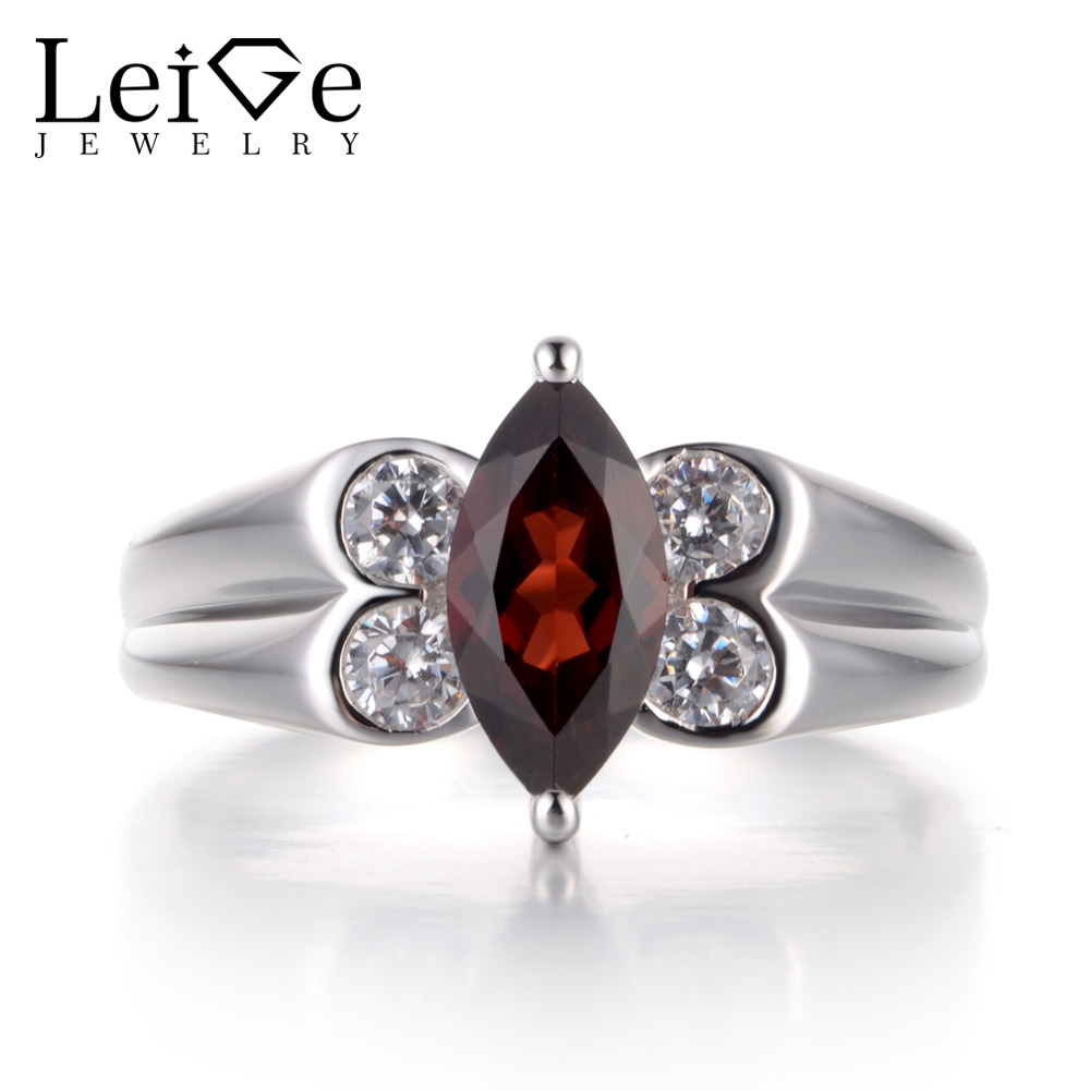 Здесь продается  Leige Jewelry Red Garnet Rings for Women Sterling Silver 925 Fine Gemstone Jewelry Wedding Engagement Rings Marquise Cut  Ювелирные изделия и часы