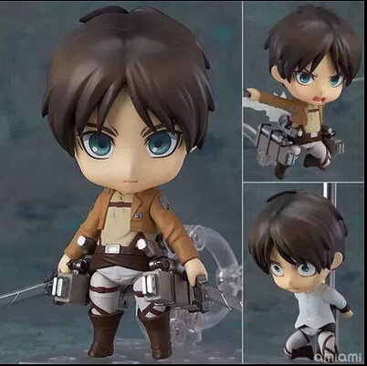 Anime Attack on Titan Figure Nendoroid Cute Eren Jaeger Ackerman PVC Action Figure Collection Model Toy Brinquedos Free shipping attack on titan anime 17 cm mikasa ackerman battle version pvc anime figure collection doll model toy kids toys pm scene tw18