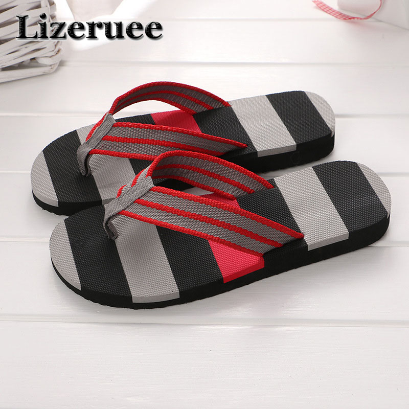 2018 Summer Casual men's Flip Flops Flat Sandals Shoes For men Striped Flip Flops Beach Sandals Shoes Man Outside Shoes HS055 цена